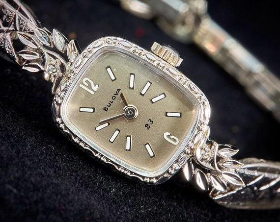 "Solid 14k White Gold 1973 Bulova ""La Petite"" Watch | Diamond Cocktail Watch | American Mid Century Watch"
