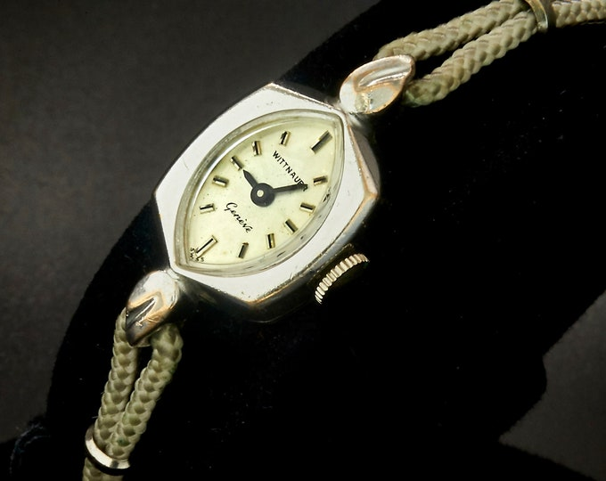 DAINTY 1960s Cat Eye Wittnauer 3006 White Gold Filled Cocktail Watch • So Silvery • Women's Heirloom Estate Fine Jewelry
