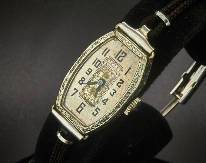 Vintage 1923 Bulova Women's Art Deco Luxury Cocktail Watch / White Gold Filled Tonneau with Ornate Bezel and Hand Carved Dial