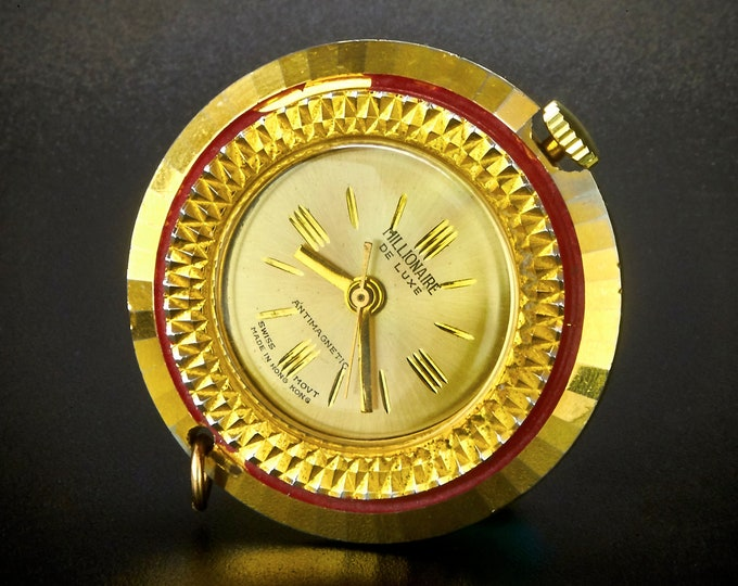 "SHINY! Rare, Vintage 1970s Constructa ""Millionaire DE LUXE"" Open Face Pocket Watch or Pendant Watcht • Antique Clock Collectibles"
