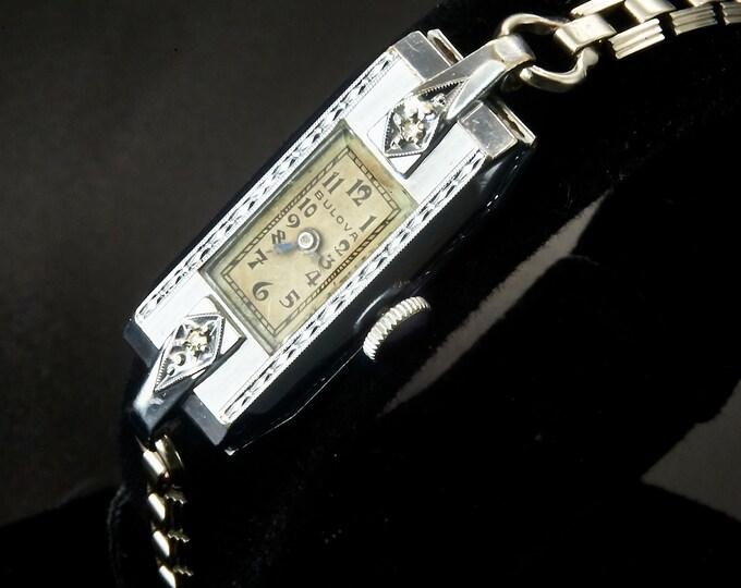 "1932 Art Deco Bulova ""Miss Liberty"" Diamond Watch / White Gold Filled Womens Antique Estate Heirloom Jewelry / Original Bulova Bracelet"