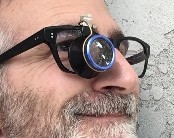 Flip Up / Flip Down | Steampunk Jeweler's Loupe | Hands Free | 5x Magnifying Glass | Mounts on Glasses or Sunglasses | Magnifier for Crafts