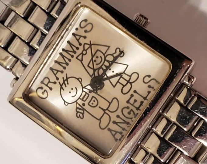 The Perfect gift for Grandma! - GRAMMA'S ANGELS -  Ladies Quartz watch, square, silver face, Stainless Steel link bracelet - new battery