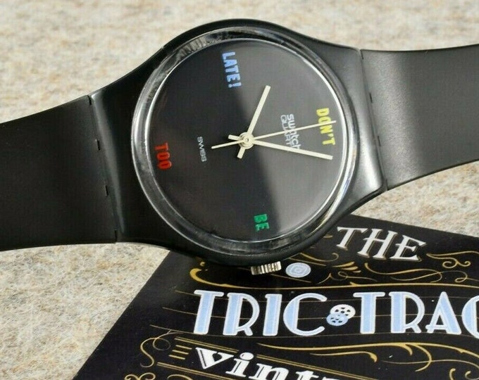 "Original 1984 Swatch Watch ""Don't Be Too Late!"" GA100 in Original Case / Old School Unisex / Rad, Early Model for Collectors"