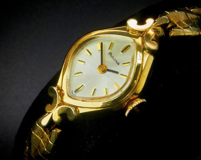 "Lovely! 1976 ""Goddess of Time"" 10k Yellow Gold Plate Marquise Cocktail Bracelet Watch / Women's Heirloom Estate Jewelry / Unforgettable Gift"