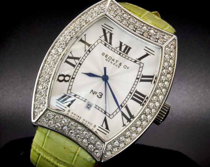 Bling! Bling! Womens Vintage Late 1990s Bedat No. 3 Tonneau Watch • Likely a Knockoff • White Radial Brushed Effect Dial • Mint Green Band