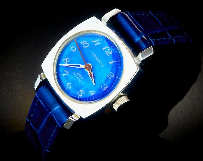 EYE CATCHING! 1972 Caravelle by Bulova Ladies Metallic Blue Watch• Hand Winding • Mid Century Modern Estate Heirloom Jewelry