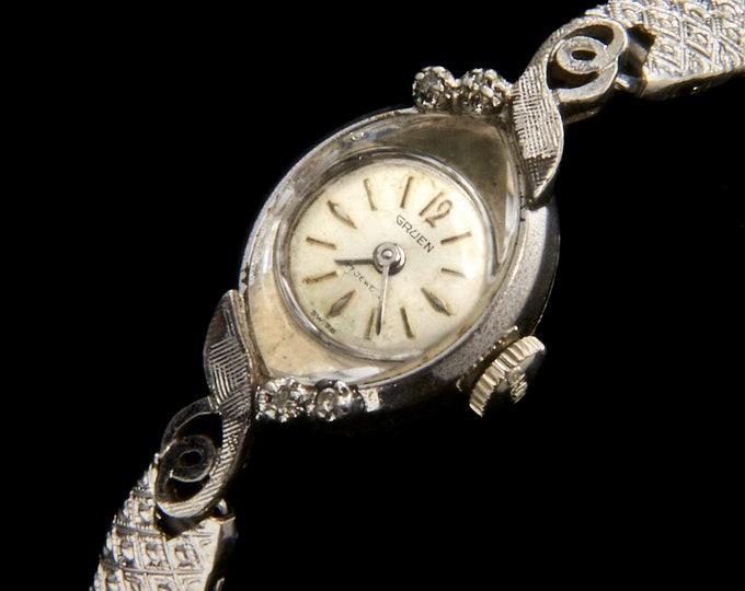 Vintage 1950s Gruen Diamond Cocktail Watch • White Gold Ladies Heirloom Wristwatch • Collector's Condition Antique Jewelry