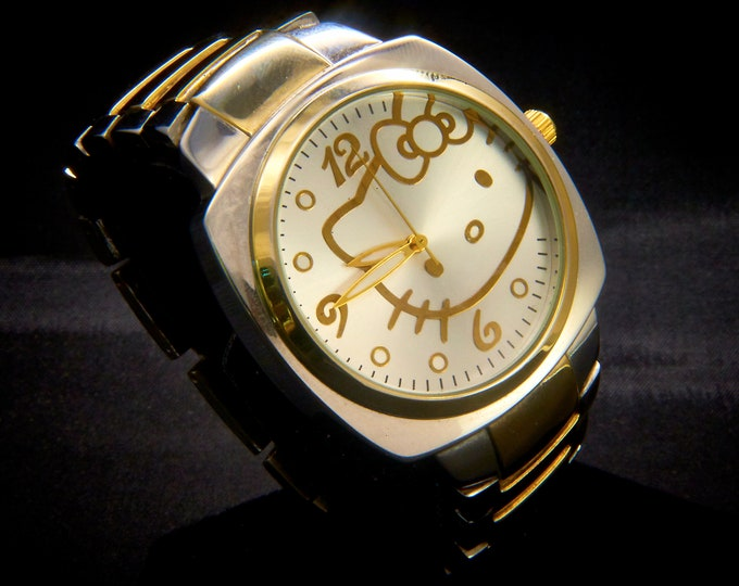 Women's ADULT Hello Kitty Wristwatch • Sanrio's Serious Silver/Gold Watch for Grown Ups • BIG Chunky Bracelet