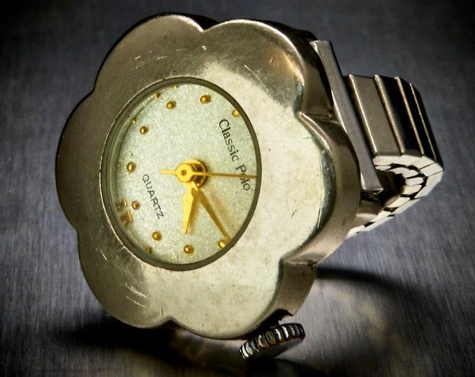 Funky Vintage Ring Watch • Silver Tone Flower Shaped Case • For Women, Girls, Teens, Tweens
