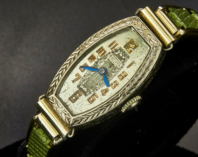 "Vintage 1928 Bulova Art Deco ""Princine"" women's Luxury Cocktail Watch / White Gold Filled Tonneau with Ornate Bezel and Hand Carved Dial"