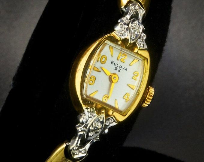 "1967 Bulova ""La Petite LJ"" Ladies Watch with 2 Diamonds•10k Two Tone Gold Plate•GF Cobra Bracelet•Womens Antique Estate Heirloom Jewelry"