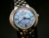 SOLAR Diamond-bejeweled Citizen Eco-Drive - Women 39 s Stainless Steel Cocktail Watch - serviced with 6 mo warranty - free USA shipping