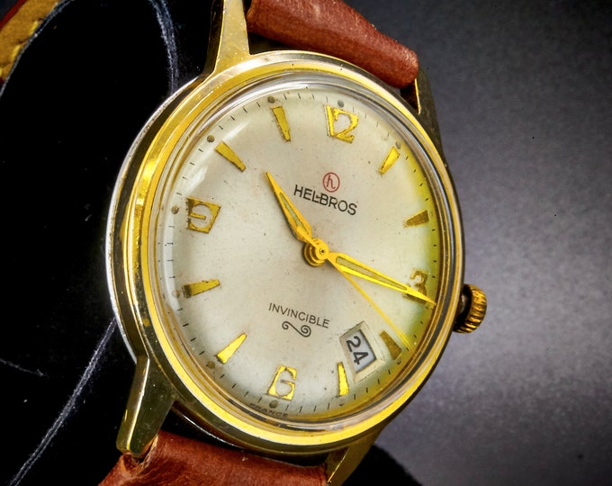 """Vintage 1960s Helbros """"Invincible"""" Men's Watch •Classic French Mid Century Modern •Mechanical Movement •Gold Heirloom Estate Jewelry"""