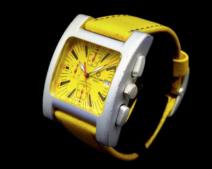 Featured listing image: SO MUCH YELLOW | Vintage 90s Chronograph Watch | Unisex | Ibiza Spazio 24 | Italy | Banana Outfit Accessories | Banana Gift Ideas
