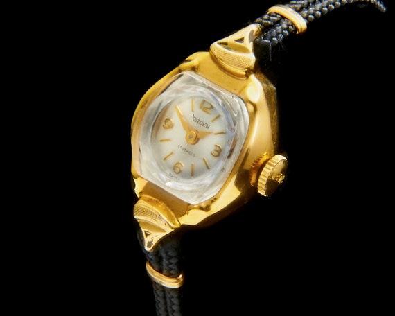Vintage 1950s Gruen American Mid Century Cocktail Watch • Ladies Heirloom Wristwatch • Collector's Condition Antique Jewelry