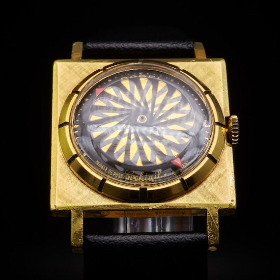 Gold Plated Space Age 1950s Kaleidoscope Square Watch | RARE Swiss Borel Cocktail Watch | Premium Leather Bracelet