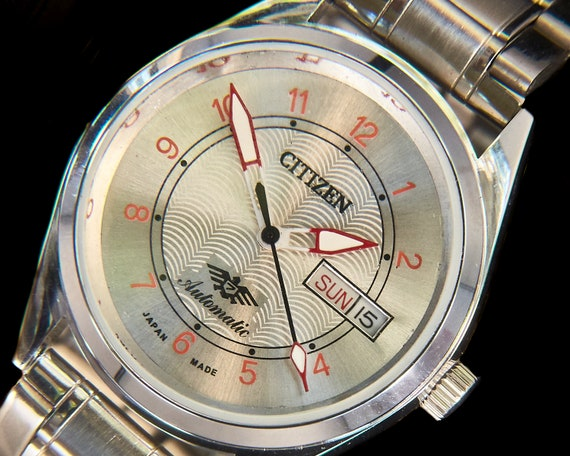 Blingy Handcrafted CUSTOM MOD Citizen Heavy Automatic Watch - Vintage Rebirth - Shiny Stainless Steel