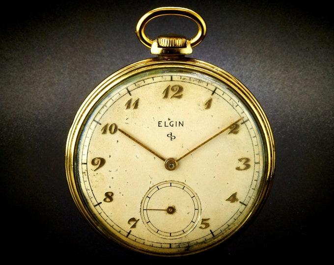 Vintage 1948 Elgin 546 Open Face Pocket Watch • 10k Gold Filled Case • Size 16 • Mechanical Movement • Antique Clock Collectibles