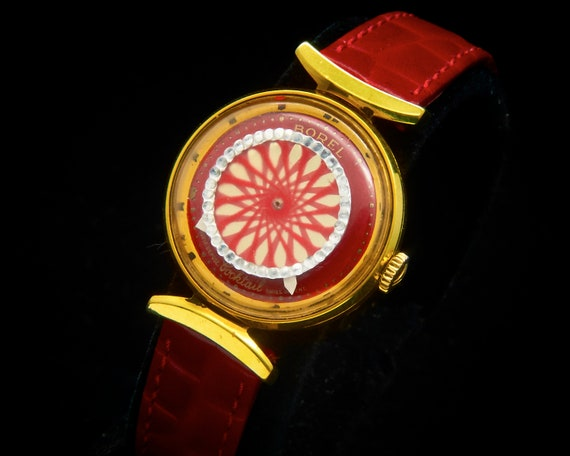 Mesmerizing 1960s Kaleidoscope Watch • Ernest Borel Gold Cocktail Wristwatch • Ladies/Teens • 60s Mid Century Mod Heirloom Estate Jewelry