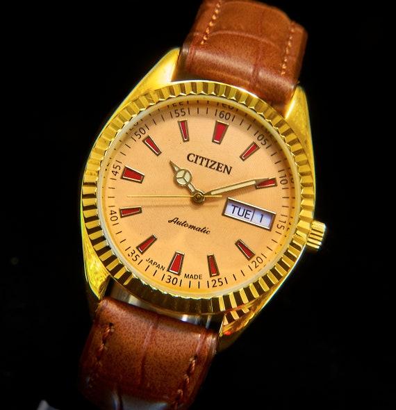 1970s Vintage Citizen Automatic Men's Gold Watch •Hand-built Custom Mod Restoration • Choice of Leather Watchbands