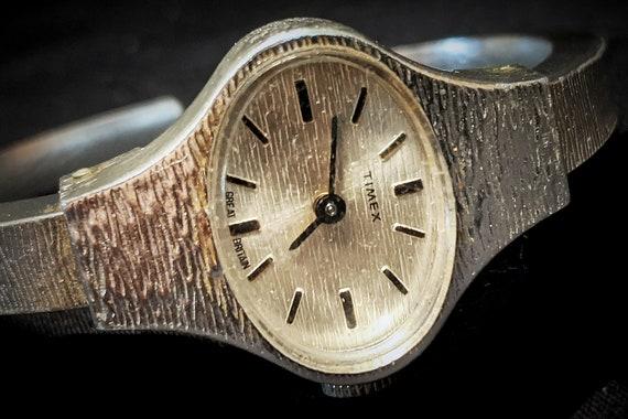 Stunning vintage ladies tiny cocktail bracelet watch - 1960s Space Age Mid Century Modern design - Timex/Great Britain