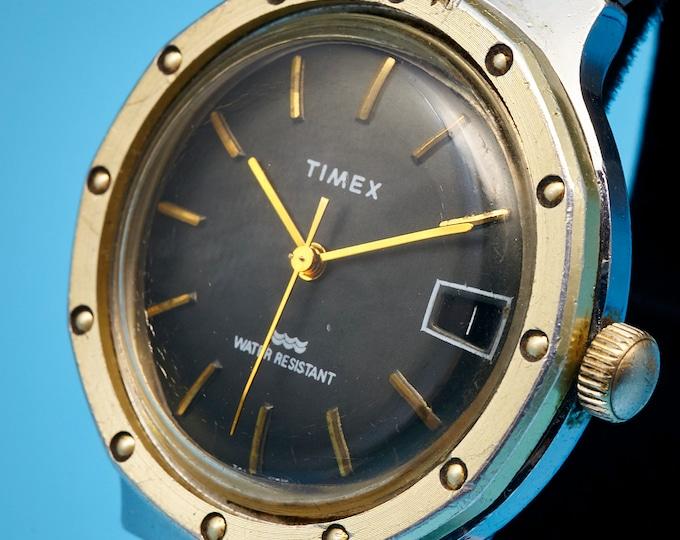 Restored Men's/Unisex Vintage 70s British Timex Sports Watch •Big 39mm Case •Mid Century Modern • Stainless Steel • Choice of Watchbands