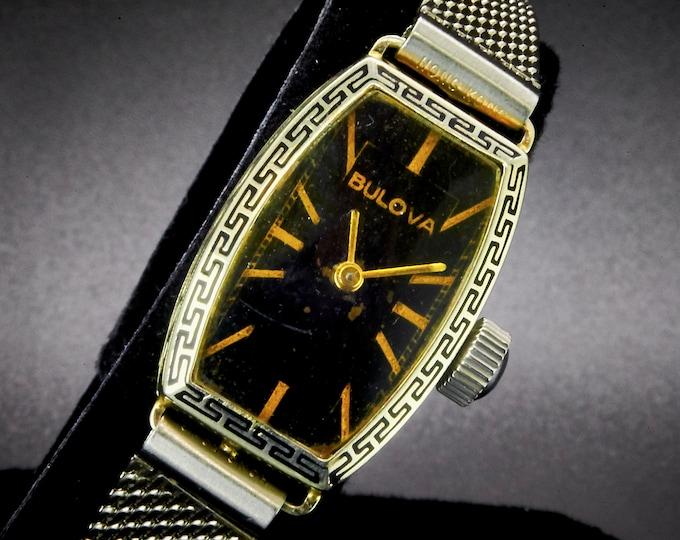 Vintage 1936 Bulova / SOLID 14k white gold tall tonneau Art Deco case / Women's Heirloom Estate Jewelry