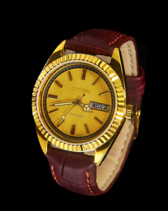 One Of a Kind! 1970s Vintage Citizen Automatic Gold Watch • Exclusive Unique Hand-built Custom Restoration • Yellow Dial, Fluted Bezel