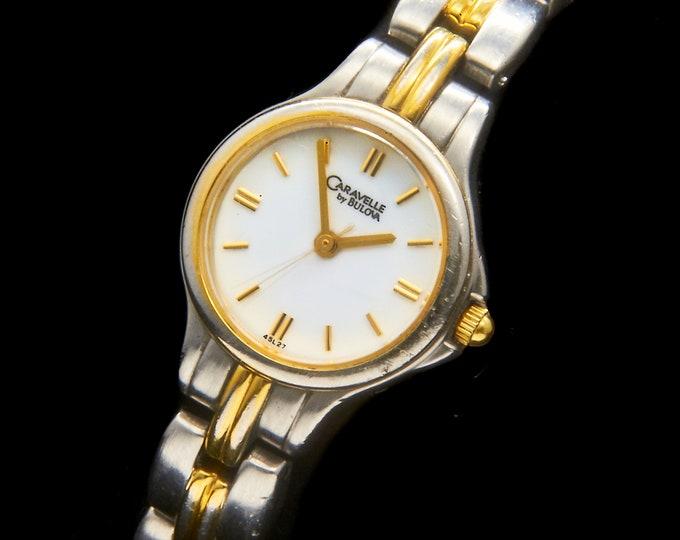 Vintage Bulova Caravelle Two Tone Womens Dress Watch • Women's Silver & Gold Bracelet Wristwatch • Dainty Yet Rugged For Everyday Wear