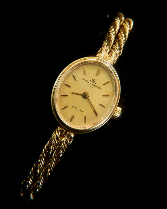Solid Gold Baume & Mercier Cocktail Watch - Solid 14k Gold Bracelet Watch - Solid Gold Jewelry (approx 12 grams)