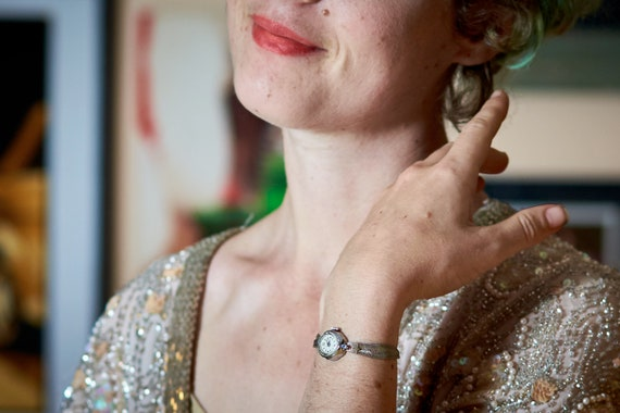 1950s Sparkling Shiny Eye Candy - DAINTY + LOVELY American Mid Century Modern (MCM) Cocktail Watch - 17 jewels - Mechanical Winding