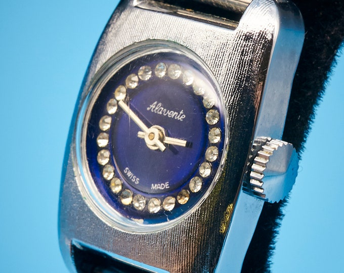 DAINTY Blingy Womens Vintage Alavente Watch •1960s Pop Art Jewelry • Mid Century Modern Heirloom Jewelry •Silver tone + Blue Dial