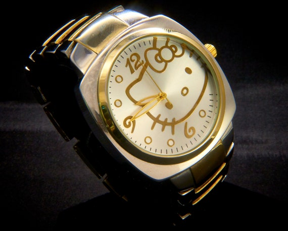 Vintage ADULT Hello Kitty Wristwatch • Sanrio's Serious Silver/Gold Steel Watch for Grown Up Hello Kitty Lovers • LARGE Unisex Timepiece