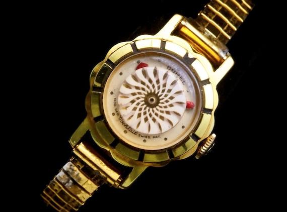 1950s Swirling Kaleidoscope Watch |Vintage Gold Cocktail Watch | Ernest Borel, Switzerland