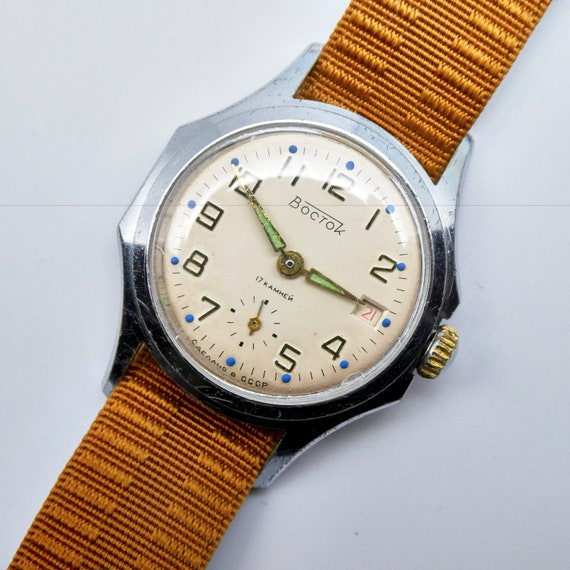 Vintage Military-style Soviet Vostok Man's Watch - NEEDS REPAIRS - perfect for collectors - hand-winding