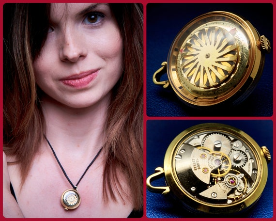 SALE Elegant MCM Gold Pendant | Borel Tiny Kaleidoscope Pendant Watch | Vintage Kaleidoscope | Antique Kaleidoscope Necklace | Gift for wife