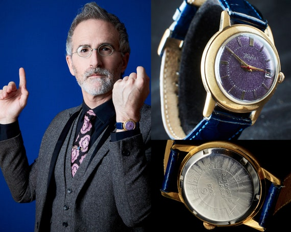 Antique Unisex Watch | Mid-Century Modern Men's Vintage Watch | Purple Glitter + Blue Leather Antique Watch | 1940s Hafis Automatic Watch