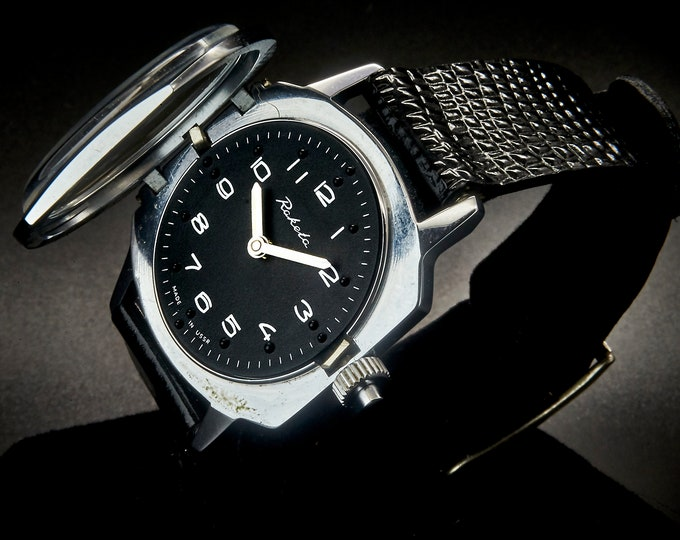 Vintage 70s Soviet Russian Raketa Braille Wristwatch • Military Style Mechanical Watch • Original Black Lizard Pattern Leather Band • USSR