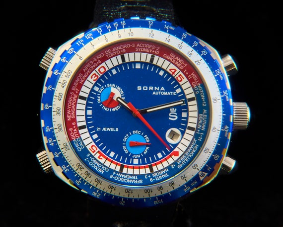 Retro men's/unisex scuba diver watch | Huge Automatic Sorna (Breitling) Watch | tachymeter, world clock, day/date/month