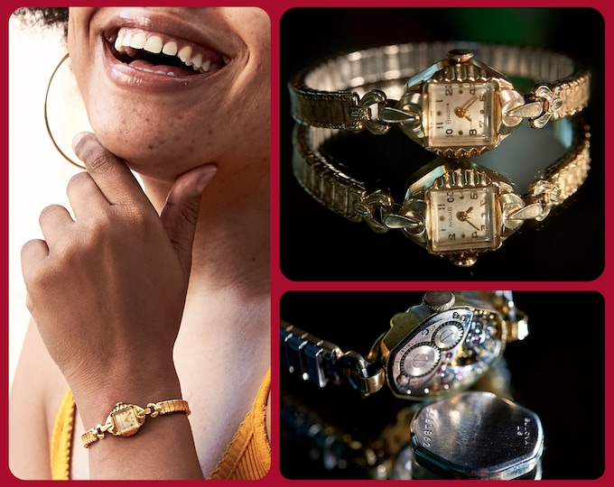 """Dainty! Ornate! 1957 Bulova """"Miss Universe"""" 10k Yellow Gold Plated Angular Marquise Cocktail Bracelet Watch • Heirloom Estate Jewelry"""