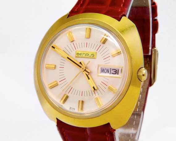 FLASHY 1960s Benrus Gold Watch • Man's/Unisex • 60s Swiss Mid Century Modern Mechanical Timepiece • Day/Date • Premium Red Leather