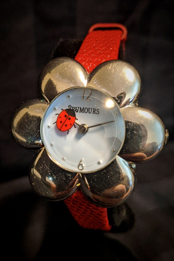 Chester's Lucky Ladybug Mystery Dial Watch | Funky Kid's or Women's Wristwatch | Flower Shaped Chrome Case