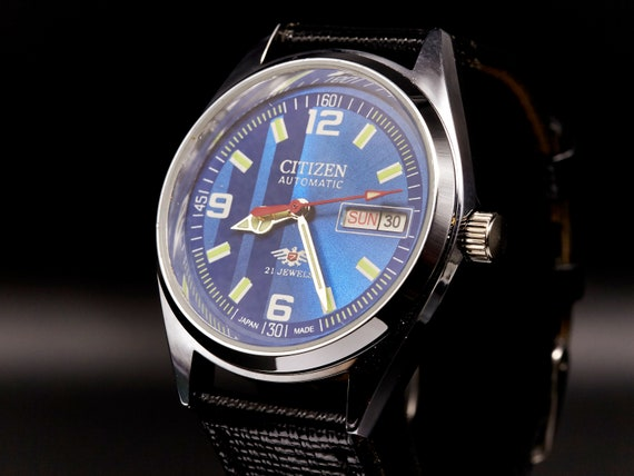 BLINGY Men's/Unisex MODDED 60s Citizen Watch - JAPAN - Blue, Bold, Heavy, Awesome - Vintage auto-wind day/date - serviced + warranty