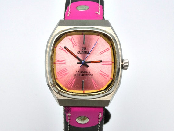 1970s Super PINK Roamer! Gift Idea | Vintage Mens Watch | Custom Unisex Flashy Watch | Vintage Jewelry | Gift for Watch Lover | BIG PINK