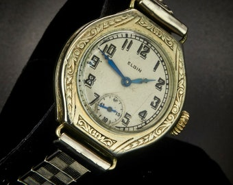 Spectacular! Vintage 1917 Elgin E-10 Women's Luxury Cocktail Watch, 14k White Gold Filled Tonneau Case with Ornate Bezel and Sub-Second Dial
