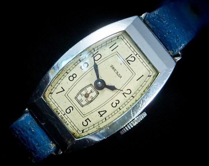 1953 Vintage Russian Zvezda Unisex/Ladies Bracelet Watch • Silver Steel • 1950s Mid Century Modern Soviet Jewelry for Women • Made in USSR