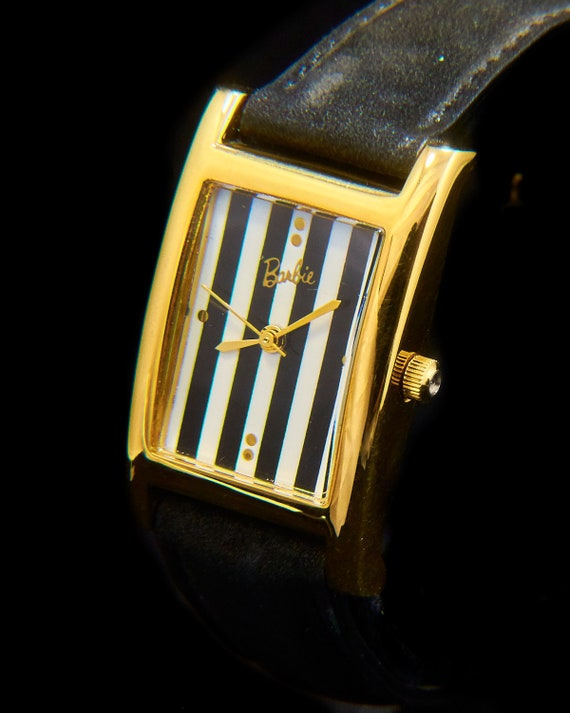 Vintage Gold Barbie Watch | New Old Stock | Original Box | Unisex Gold Tank Watch | Striped Dial | Free batteries for life!