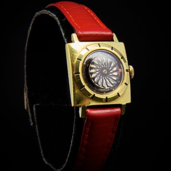 "1950s Ernest Borel ""Cocktail"" Kaleidoscope Women's Vintage watch - red leather or black lizard bracelet - black & gold swirling dial"