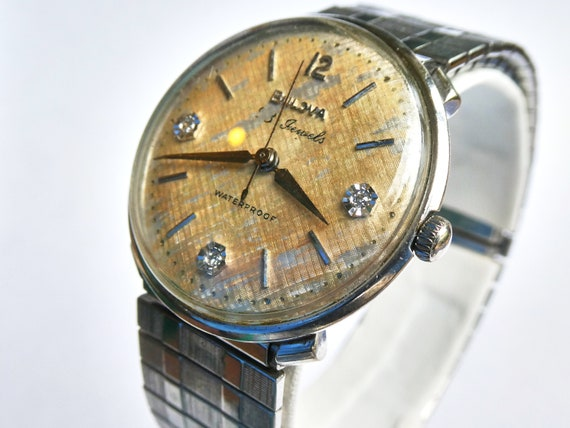 "1960 Bulova Diamond Vintage Watch | Men's/Unisex | 60s ""Beau Brummel"" | Mid-Century Modern MCM Accessories | Gift for antique watch lovers!"